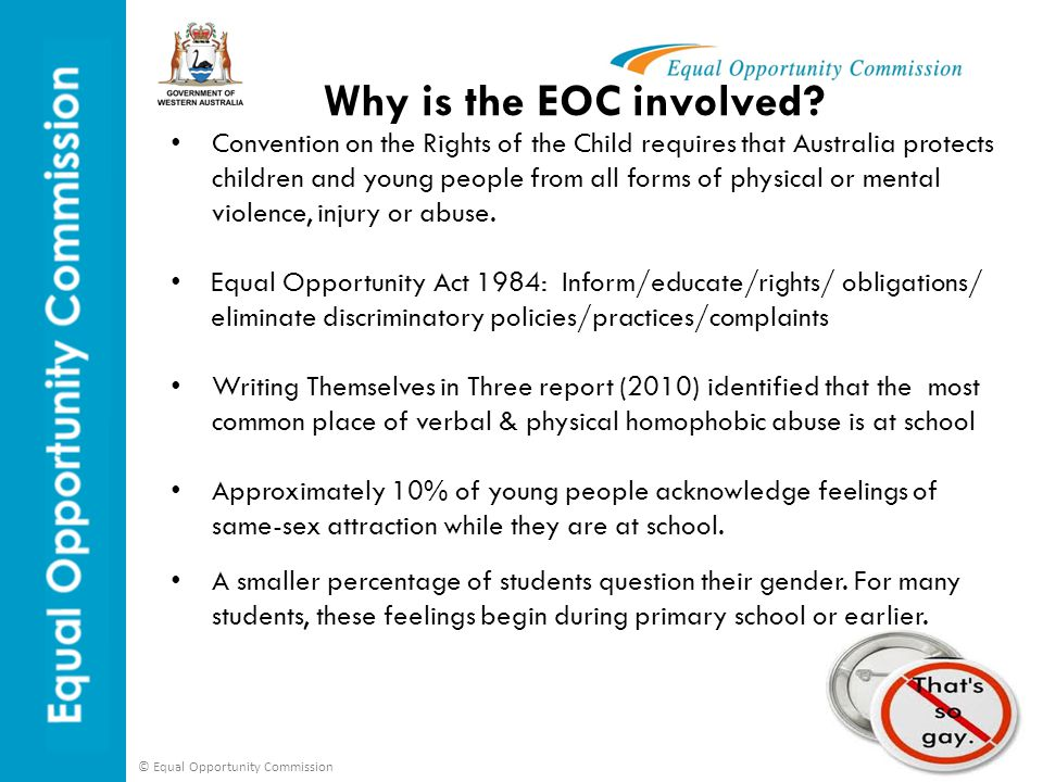 © Equal Opportunity Commission The project Aims of the project are to: Bring school and GLBTI communities together to find ways to address the specific needs of this extremely vulnerable group Raise awareness about this serious issue in WA In June 2010 the EOC started the challenging sexuality & gender based bullying in schools project