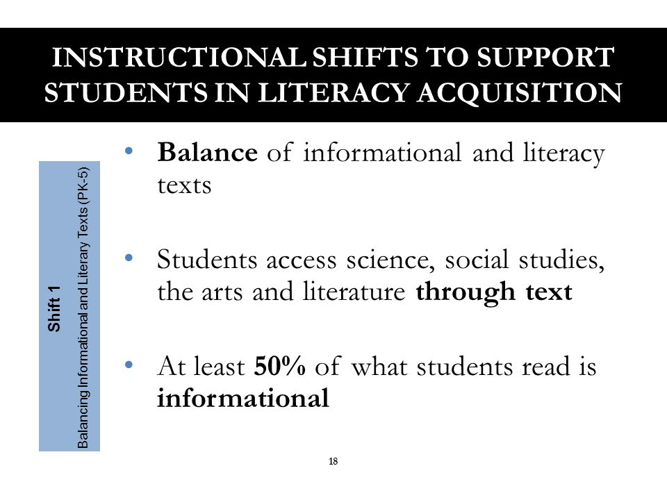 Content area teachers emphasize literacy experiences in their planning and instruction Students learn through domain – specific texts in science, social studies and technical subject classrooms.
