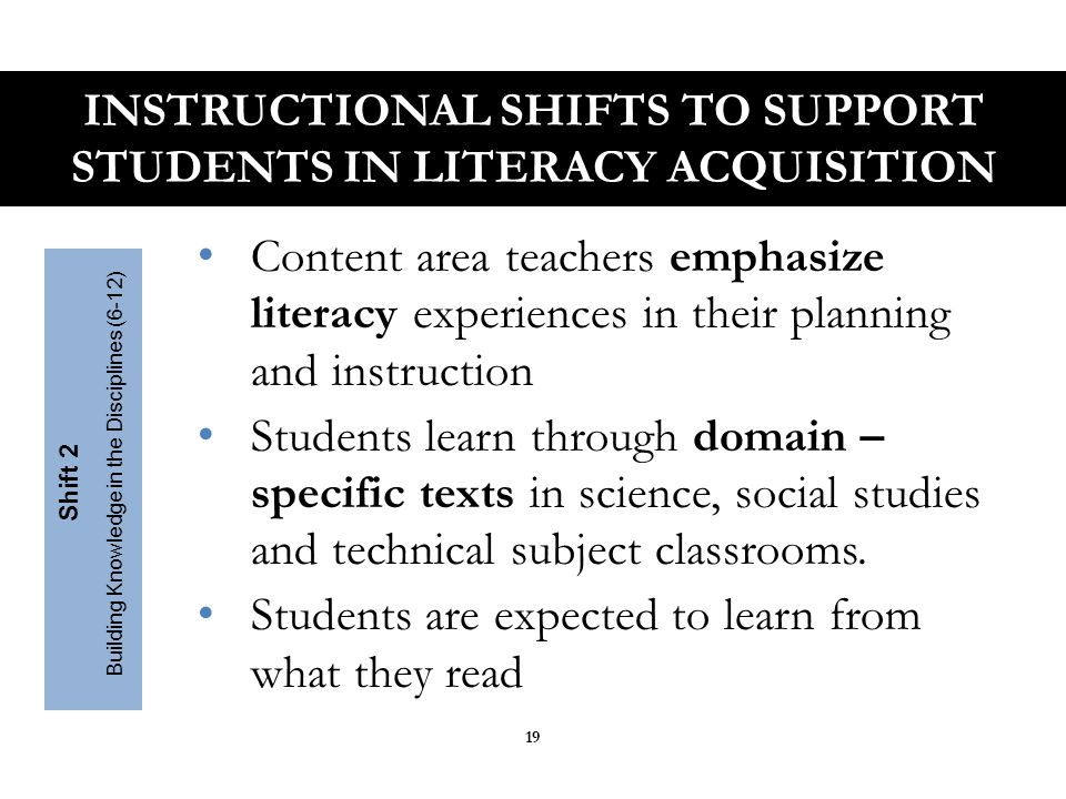 Students read the central, grade appropriate text around which instruction is centered Teachers create more time and space in the curriculum for close careful reading of text Teachers provide necessary scaffolding Text Complexity Matters Shift 3 Staircase of Text Complexity INSTRUCTIONAL SHIFTS TO SUPPORT STUDENTS IN LITERACY ACQUISITION 20