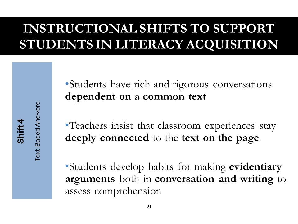 Writing emphasizes the use of evidence to inform or make an argument Students develop skills through written arguments that respond to the ideas, events, facts, and arguments presented in the texts they read Shift 5 Writing from Sources INSTRUCTIONAL SHIFTS TO SUPPORT STUDENTS IN LITERACY ACQUISITION 22