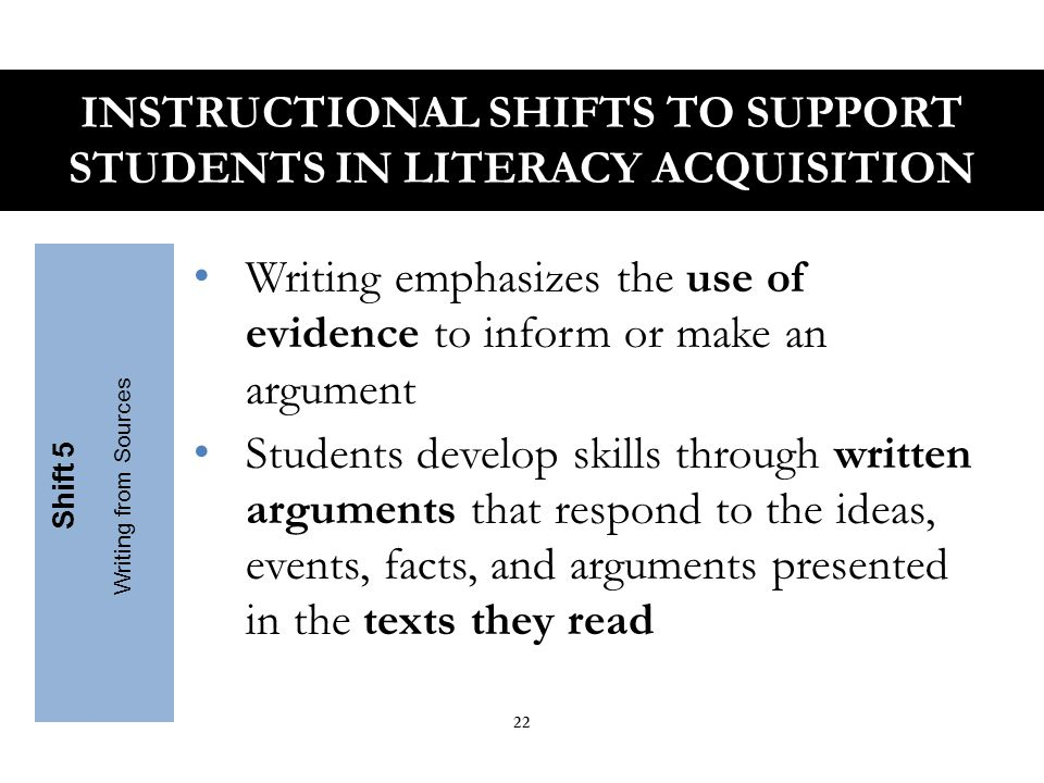 Students build needed vocabulary to access grade level complex texts Focus strategically on the comprehension of words such as discourse, generation and theory, and less time on literary terms (onomatopoeia) Teachers insist students use academic words in speaking and writing Shift 6 Academic Vocabulary INSTRUCTIONAL SHIFTS TO SUPPORT STUDENTS IN LITERACY ACQUISITION 23