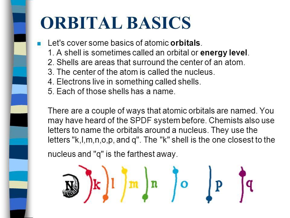 ORBITAL BASICS n Let s cover some basics of atomic orbitals.