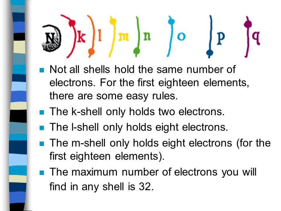 n Not all shells hold the same number of electrons.