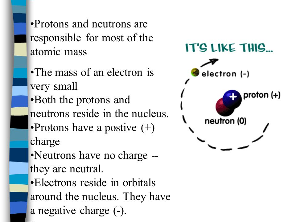 Protons and neutrons are responsible for most of the atomic mass The mass of an electron is very small Both the protons and neutrons reside in the nucleus.