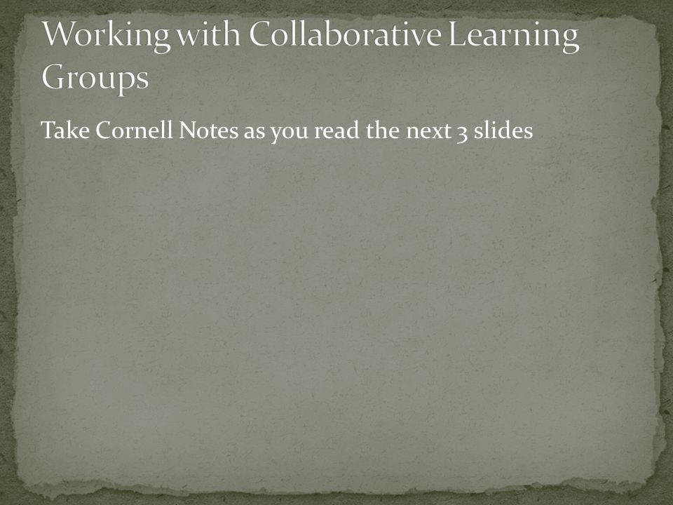 Collaborative learning groups are the cornerstone of successful tutorials.