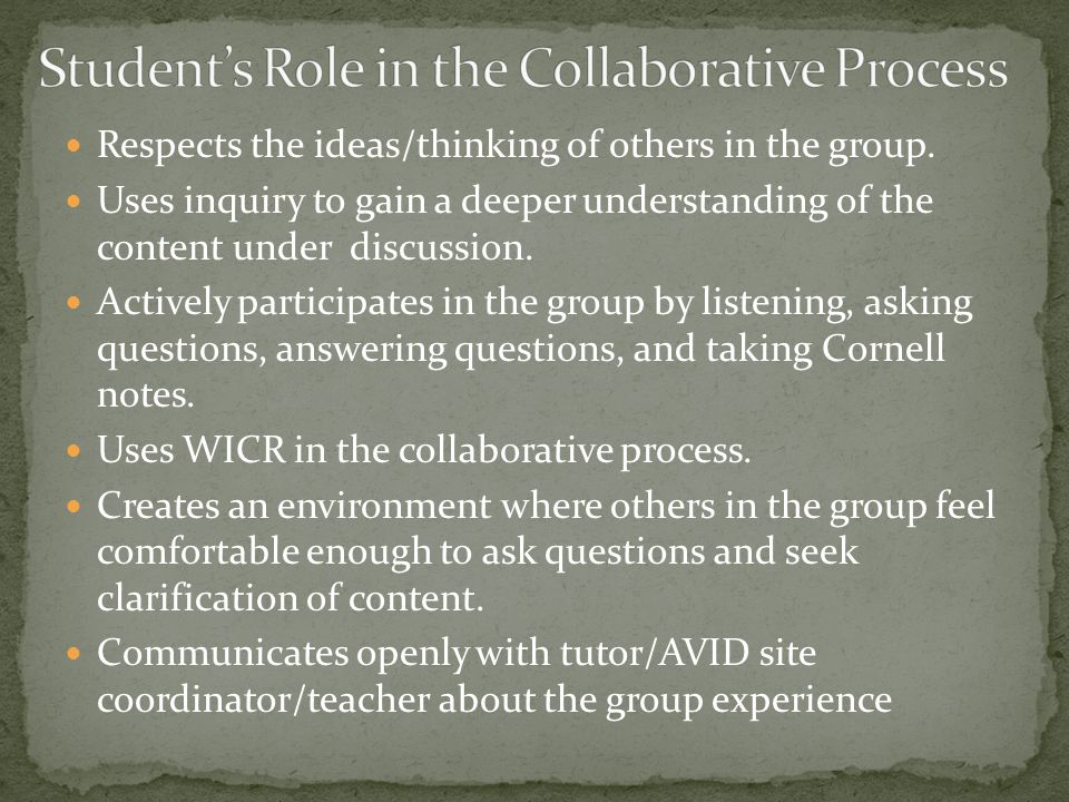Traditional Groups No interdependence No individual accountability Homogeneous One appointed leader Responsibility only for self Social skills ignored Teacher/tutor ignores group functioning No group processing required Collaborative Learning Groups Positive interdependence Individual accountability Heterogeneous Shared leadership Shared responsibility for one another Appropriate social skills are addressed and modeled by the AVID site coordinator/teacher/tutor AVID side coordinator/teacher/tutor observes, monitors, and intervenes Groups process their effectiveness through reflection Activity 14: Describe a time when you had a successful collaborative experience in school.