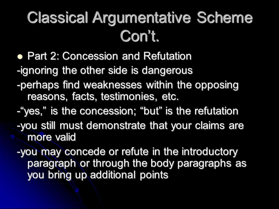 Classical Argumentative Scheme Con't.