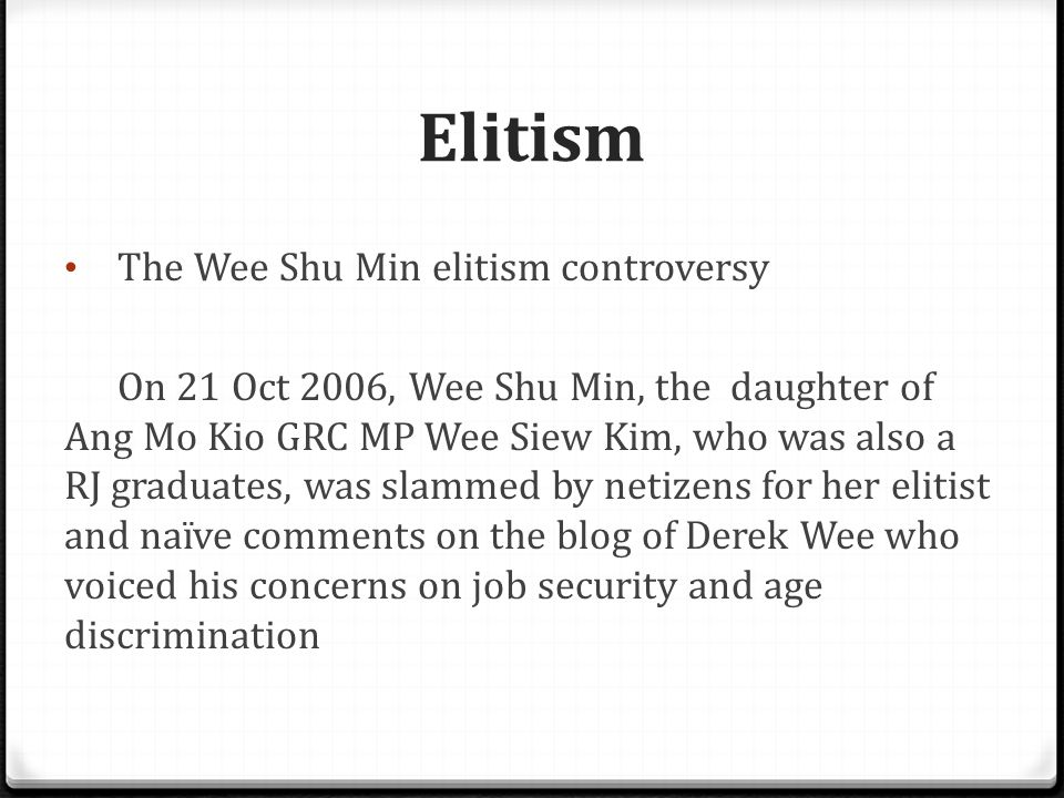 Elitism Wee Shu Min (left) called Derek a stupid crackpot , belonging to the sadder class and overreliant on the government.