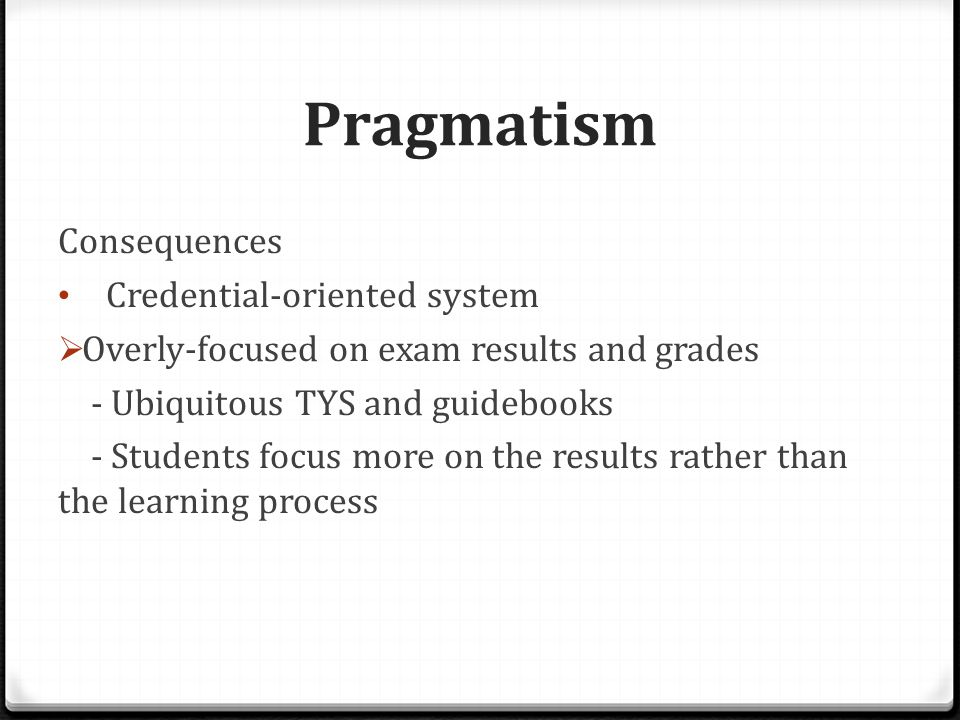 Pragmatism  The other extreme: many students blindly engage in a plethora of competitions, CIPs and commitments, for the mere sake of boosting their curriculum vitae and portfolios