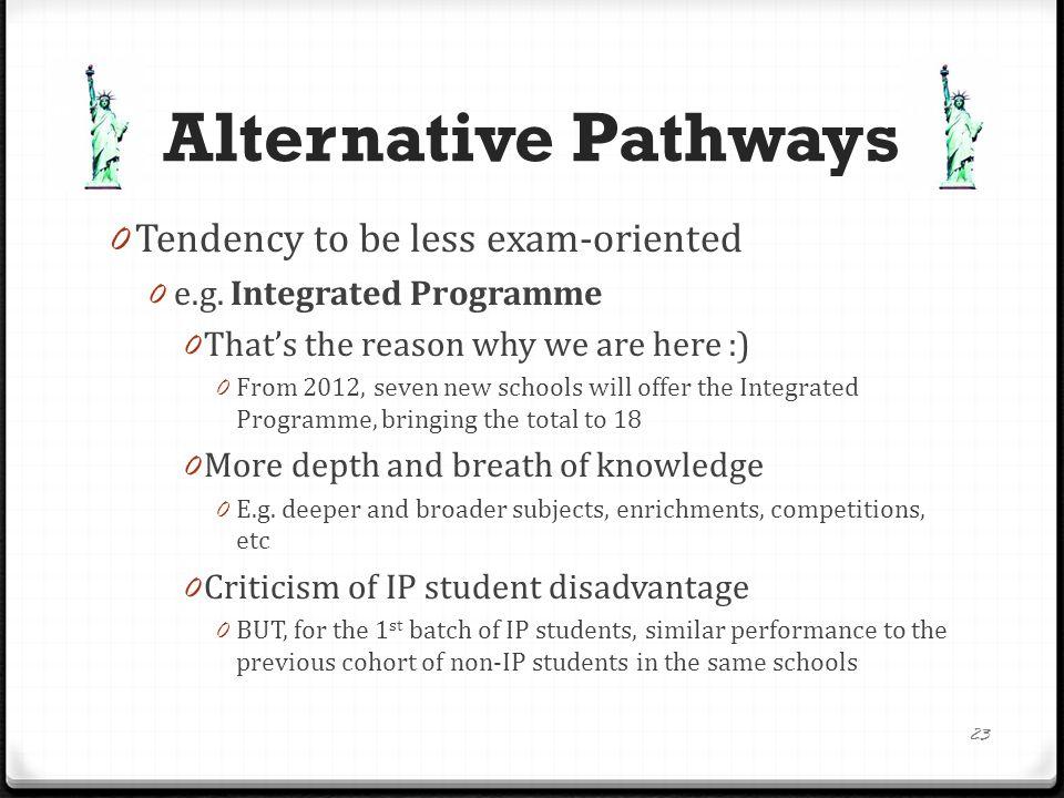 Alternative Pathways 0 E.g.