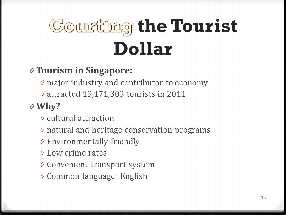 Development of Singapore's tourism industry 0 The Singapore Tourist Promotion Board: 0 first established in 1964 0 promote Singapore as a tourist destination 0 First used the Merlion as its logo 0 Post independence: 0 tourism spurred on by technological improvements in transportation and communications 0 welcomed as a means to create employment and boost the economy 31