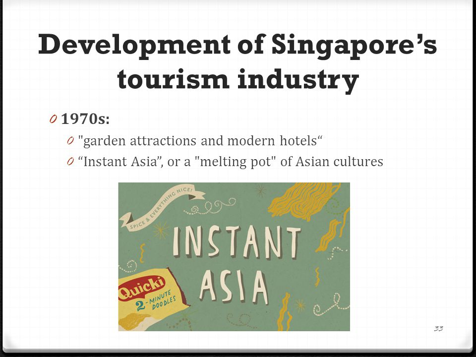 0 Mid-1980s: 0 weakness of infrastructure were identified for falling tourism 0 heralded the implementation of a S$1 billion Tourism Product Development Plan 0 the redevelopment of ethnic enclaves such as Chinatown, Little India, Arab Street and Kampong Glam as well as historical sites like the Singapore River 34 Development of Singapore's tourism industry