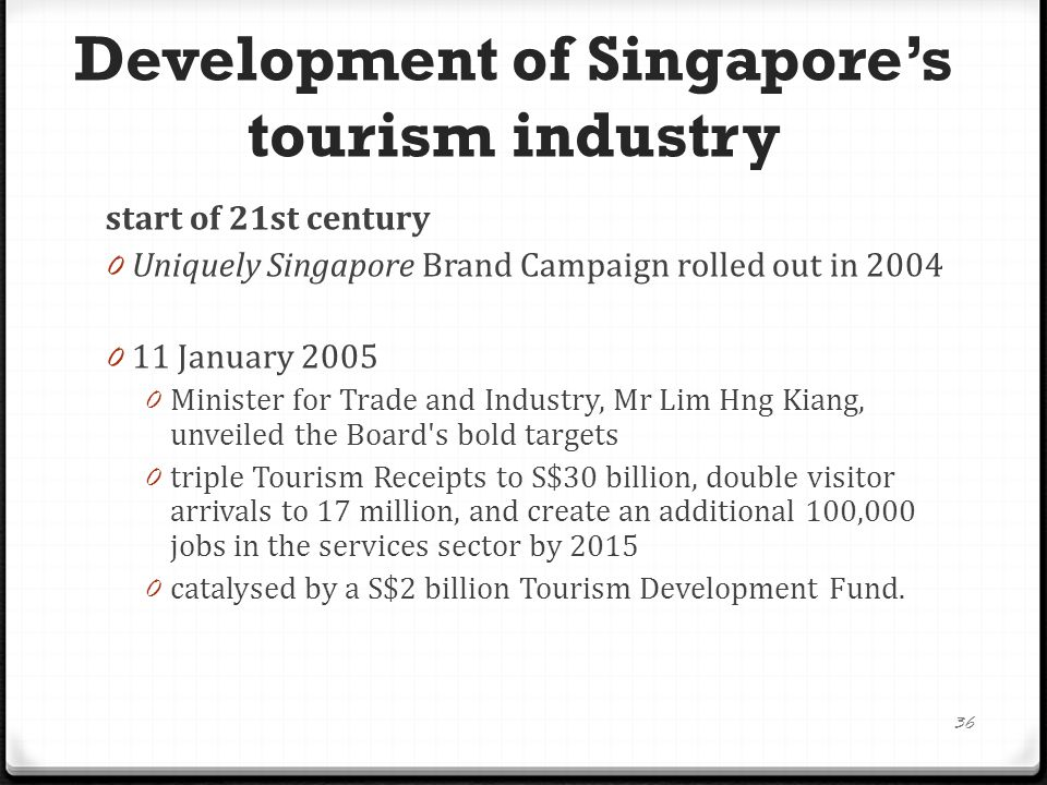 2015 - Vision, Targets and Initiatives 0 Set against the backdrop of growing opportunities 0 ensure that the tourism sector in Singapore remains competitive 0 three key areas of focus: 37 1.
