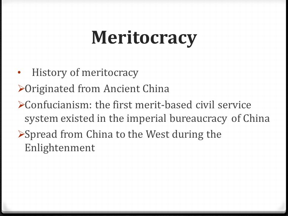 Meritocracy Why Singapore adopts meritocracy  Traditional views of the founding fathers of Singapore  Ensure social equality especially in a multi-racial society  Important in the building of nation  Ensure fairness