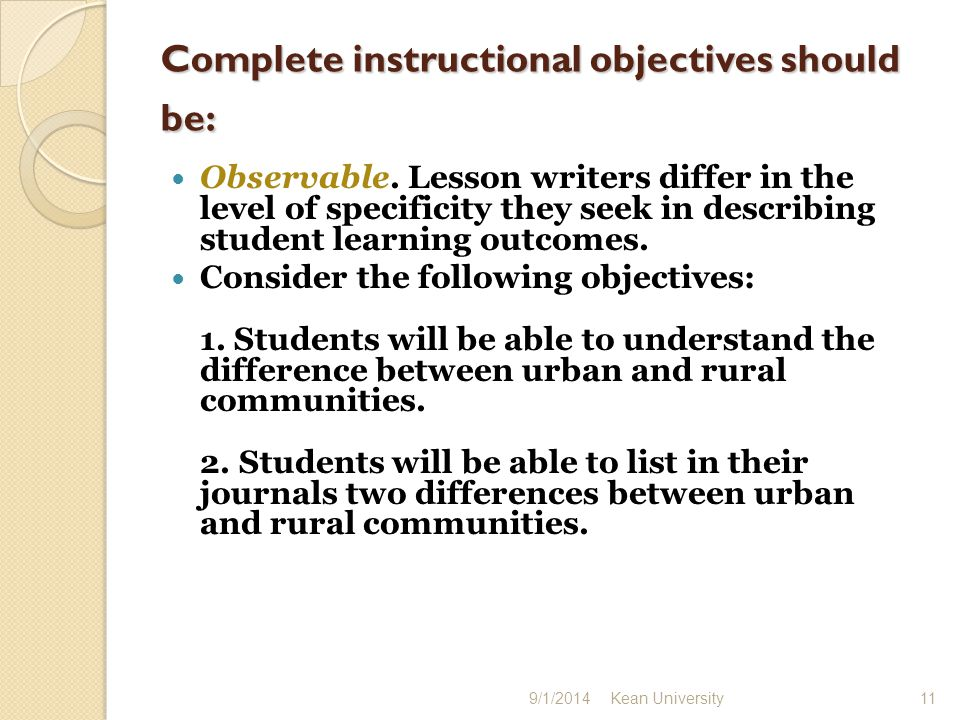 The first objective is very general and it does not say how students might show, in any observable way, their understanding.