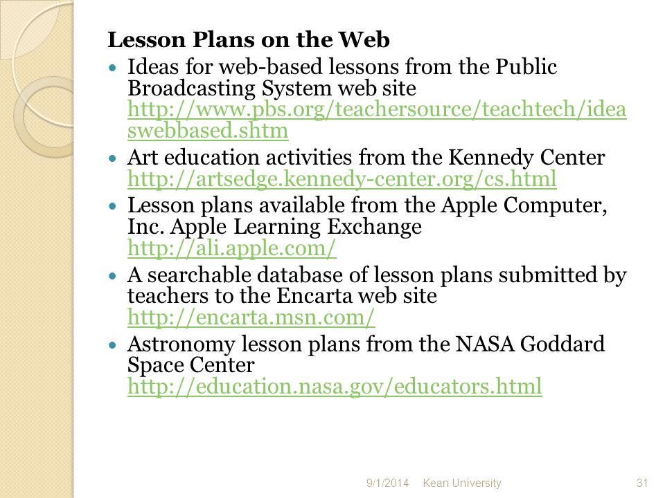 Lesson plans, activities, and resources from the national Park Service to support education in geology, paleontology, prairie resources, and wildlife http://www1.nature.nps.gov/edures/ http://www1.nature.nps.gov/edures/ Free bank of lesson activities and other resources from the U.