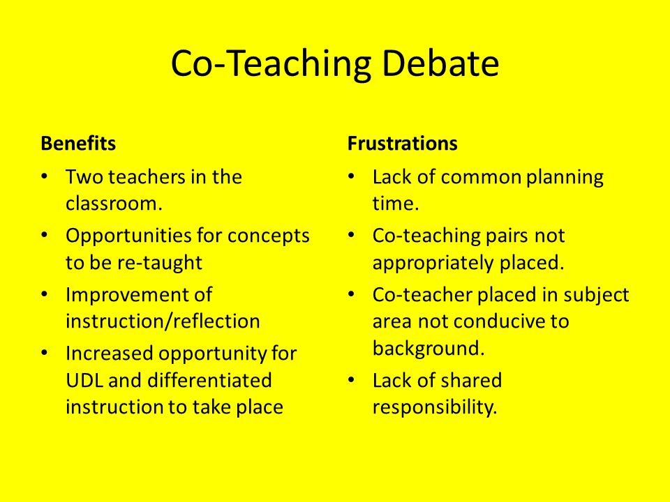 Most Common Turn Offs Lack of common planning time Lack of consistent co-teaching partnerships (i.e.