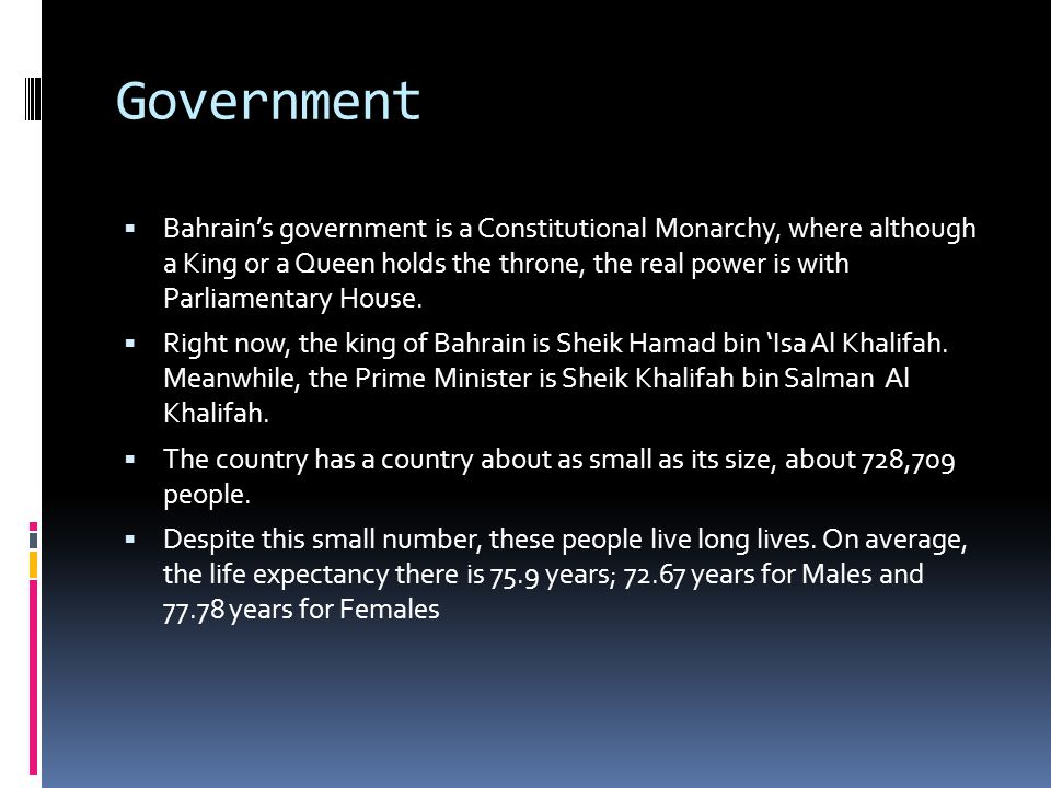 History and Current Events  Bahrain was captured from Persia by the al-Khalifa Family in 1783.