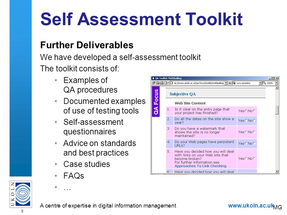 A centre of expertise in digital information managementwww.ukoln.ac.uk 10 Useful Approach To Tools As an example of approach which provides easier access to testing tools, see the,tools approach deployed on UKOLN Web site.