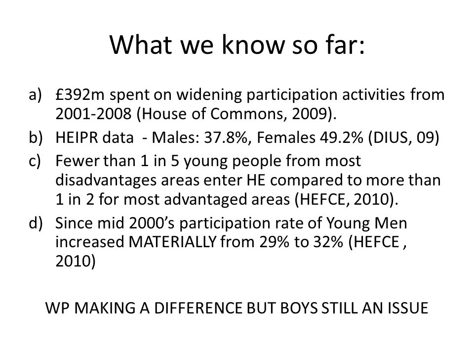 Research Aim and Questions: Aim: To examine what influences the decision making process of white working class young males (aged 15-16) and the impact that widening participation activities have on their decision making process.