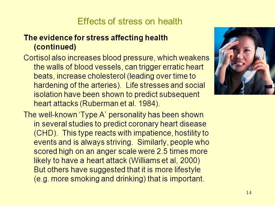 15 Effects of stress on health The evidence for stress affecting health (continued) Bosch et al.