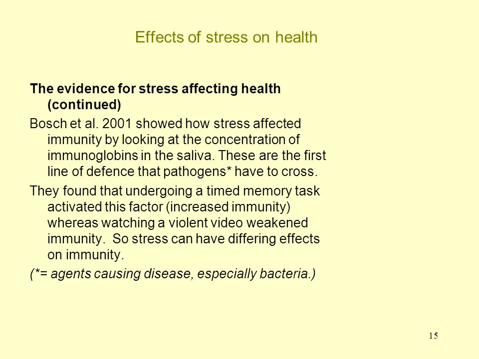 16 Effects of stress on health The evidence for stress affecting health (continued) Even chronic low-level noise from local traffic can potentially affect health.
