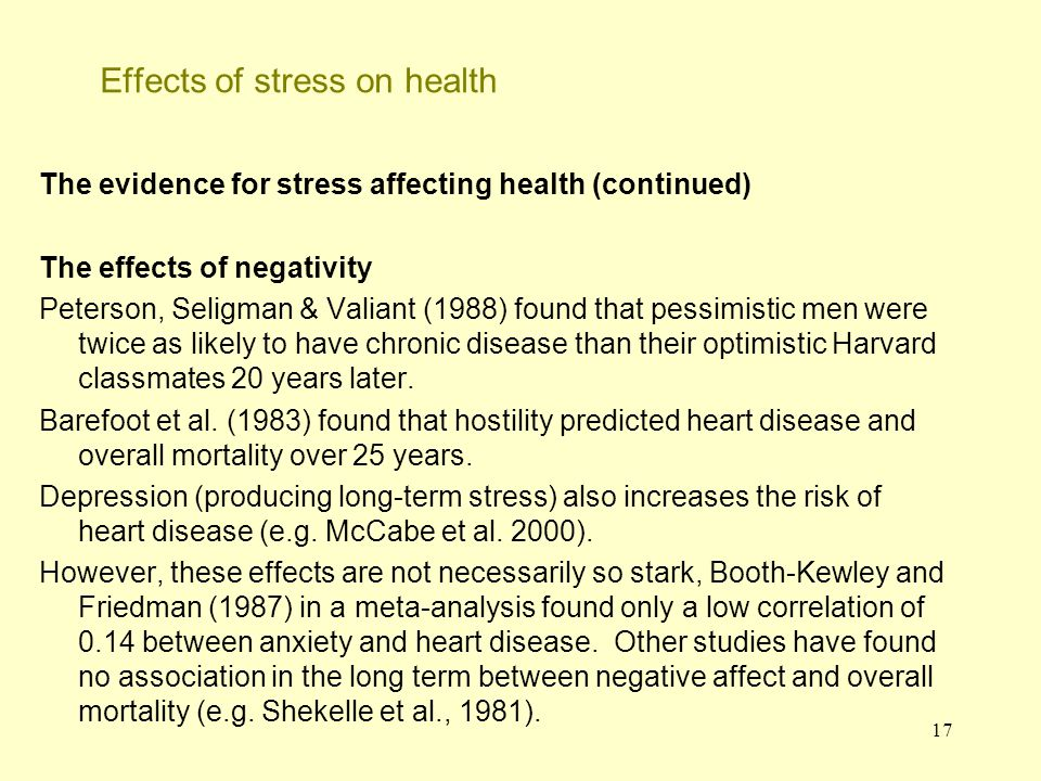 18 Effects of stress on health - the field of psychoneuroimmunology (PNI) This field examines the interaction between stress versus nervous system activity, the immune system and the endocrine system.