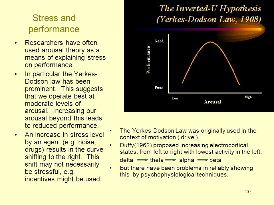 21 Stress and performance Wilkinson (1963) provided data relevant to the Yerkes-Dodson hypothesis looking at the effects of noise and sleep deprivation.