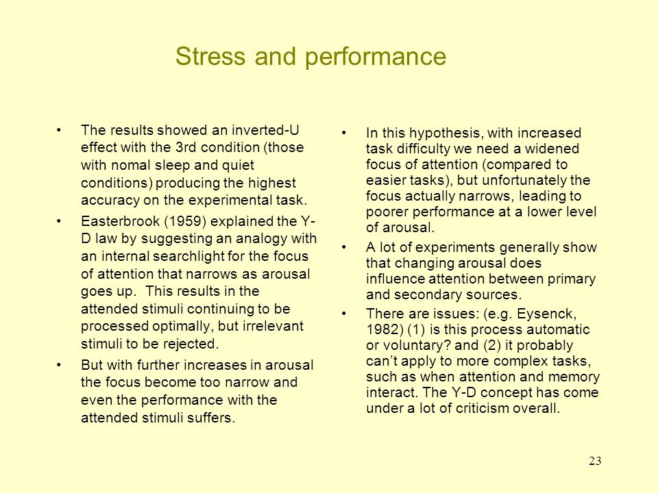 24 Stress and performance Criticisms of Yerkes-Dodson 1.Problems of measurement.