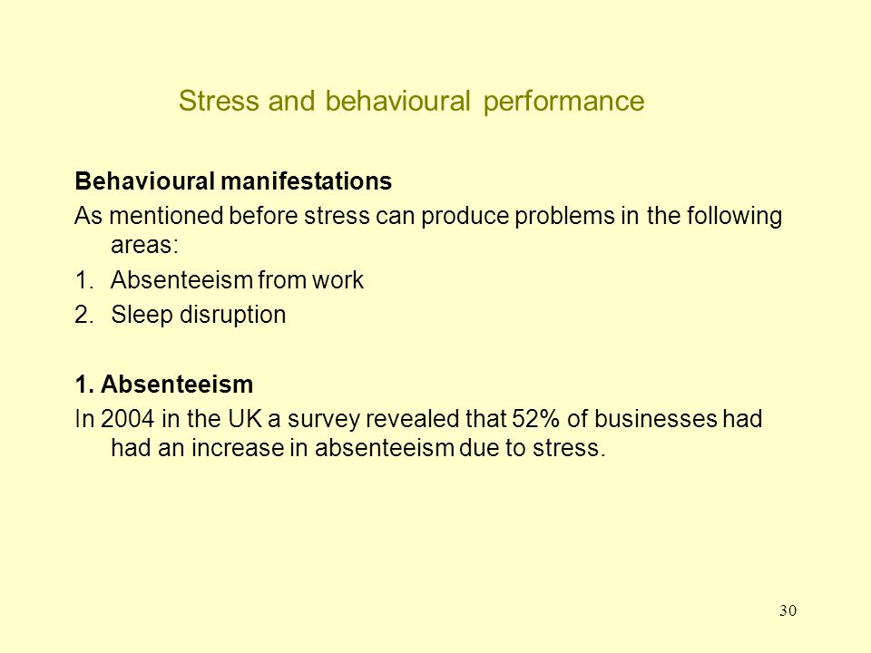 31 Stress and behavioural performance 1.Absenteeism (continued) Woo et al.