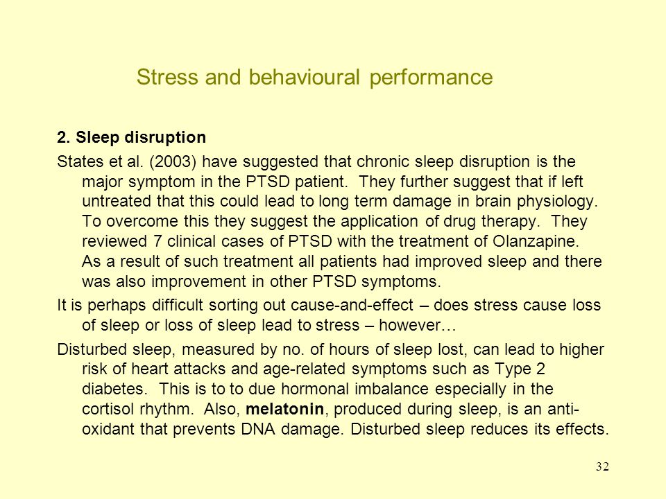 33 Stress and emotional effects Stress can lead to: 1.Anxiety and depression 2.Physical tension 1.