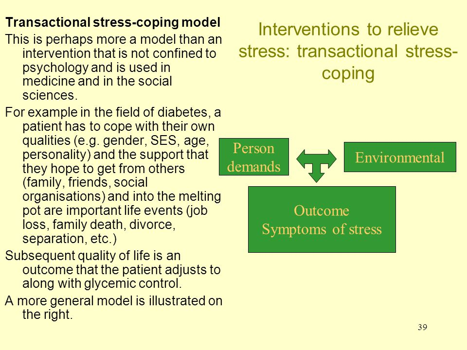 40 Interventions to relieve stress: transactional stress-coping Matthews (2000) suggests that a person's subjective response in a situation is based on their cognitions and the environmental demands.