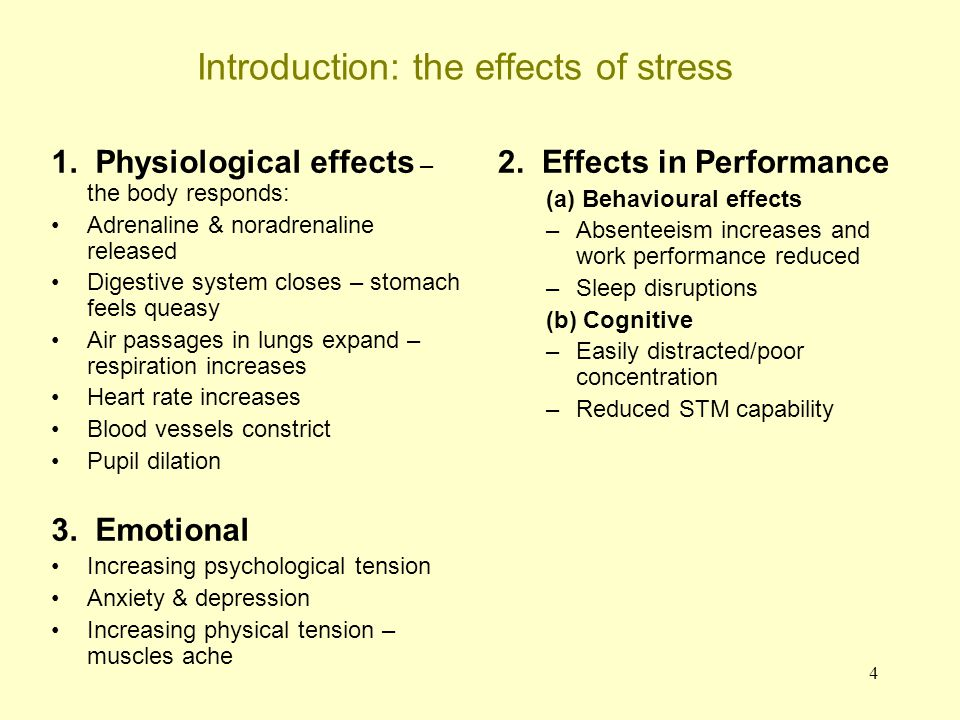 5 Stress: physiological effects Satcher (1999) We know that 50% of deaths are directly related to human behaviours, and yet we spend too little time doing research and implementing programs related to them (the US Surgeon General).