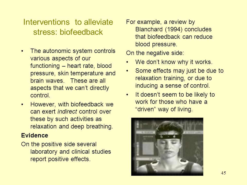 46 Interventions to alleviate stress: Social support This is a popular suggestion in magazines for combating stress – that one needs a social network .