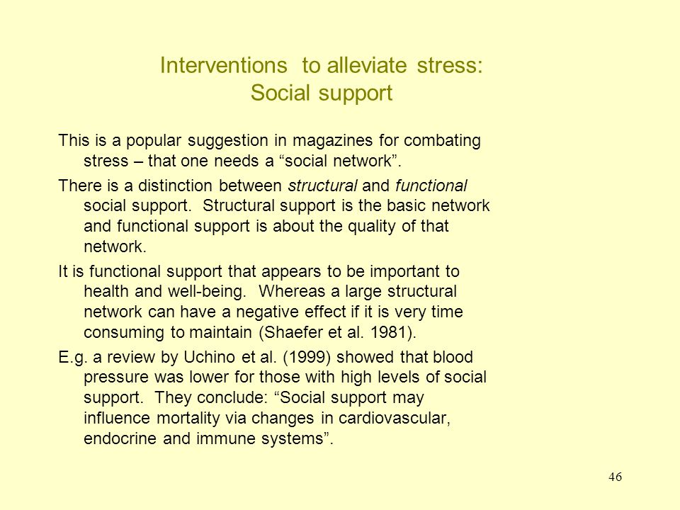 47 Interventions to alleviate stress: drugs People going to their GP to alleviate stress can be prescribed a drug.