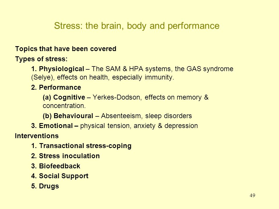 50 Concluding remarks As we have seen stress is a condition that is produced by a number of factors, and it can have serious underlying biological consequences.
