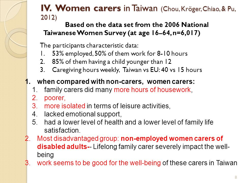 Women carers in Japan 9 Age/Sex of Carers living with the cared Age of the Cared total 40 ~ 6465 ~ 6970 ~ 7980 ~ 8990 + (ag g reged) 60 + 65 + 75 + total [100.0][5.1][4.7][25.9][45.4][18.8][97.9][94.8][80.3] 100 402.914.59.72.71.51.82.62.31.4 40 ~ 49 8.34.29.717.36.12.18.38.67.5 50 ~ 59 26.630.24.613.437.42326.326.430.2 60 ~ 69 29.342.157.615.822.753.229.628.626.8 70 ~ 79 20.6317.542.613.113.920.821.519.5 80 + 12.3618.119.35.912.312.614.5 Men30.646.732.933.329.424.630.129.728.9 4017.73.80.70.40.20.80.60.3 40 ~ 49 2.92.51.56.620.52.82.92.4 50 ~ 59 6.912.10.33.79.35.56.56.67.5 60 ~ 69 7.522.310.70.5713.67.56.77.2 70 ~ 79 60.216.414.41.646.16.34 80 + 6.31.90.37.49.10.76.36.57.4 Women69.453.367.166.770.675.469.970.371.1 401.96.86211.71.81.71.1 40 ~ 49 5.41.78.110.74.21.65.55.75.1 50 ~ 59 19.718.24.39.728.117.519.8 22.7 60 ~ 69 21.719.946.915.315.639.622.121.819.6 70 ~ 79 14.52.81.128.211.49.814.715.215.5 80 + 64.10.60.710.25.266.17.1 (National Livelihood Survey, 2012)