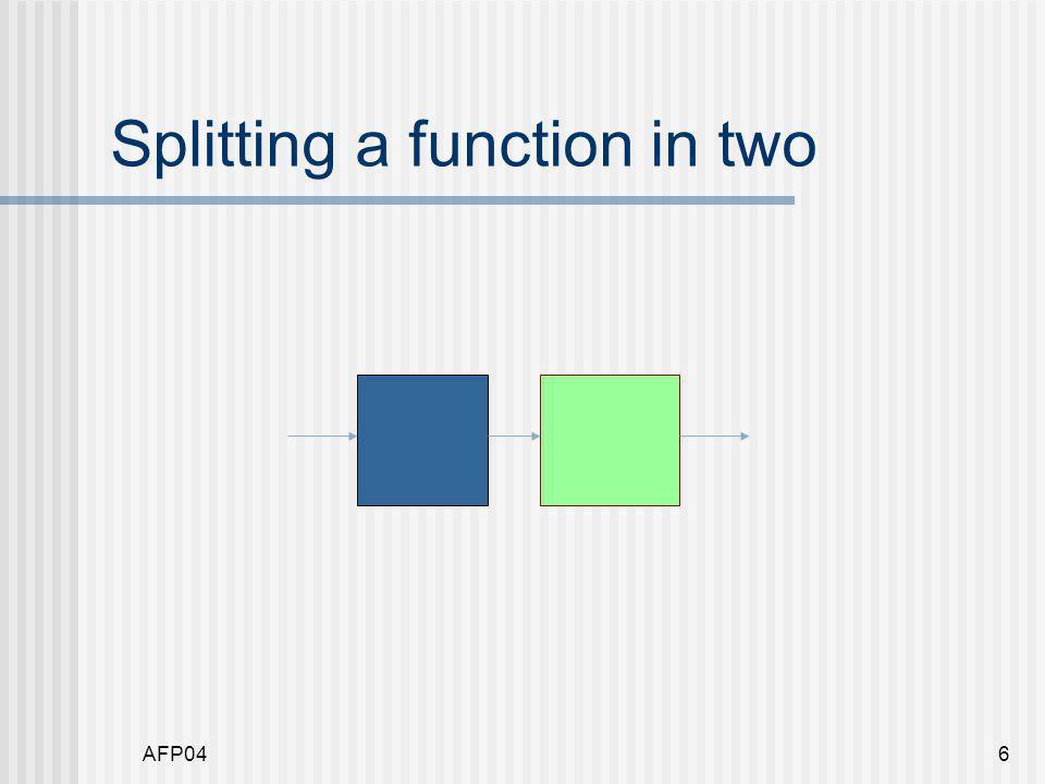AFP047 Splitting a function module Split where f :: [String] -> [String] -> String f ys = foldr (++) [] [ y++ \n   y <- ys ]