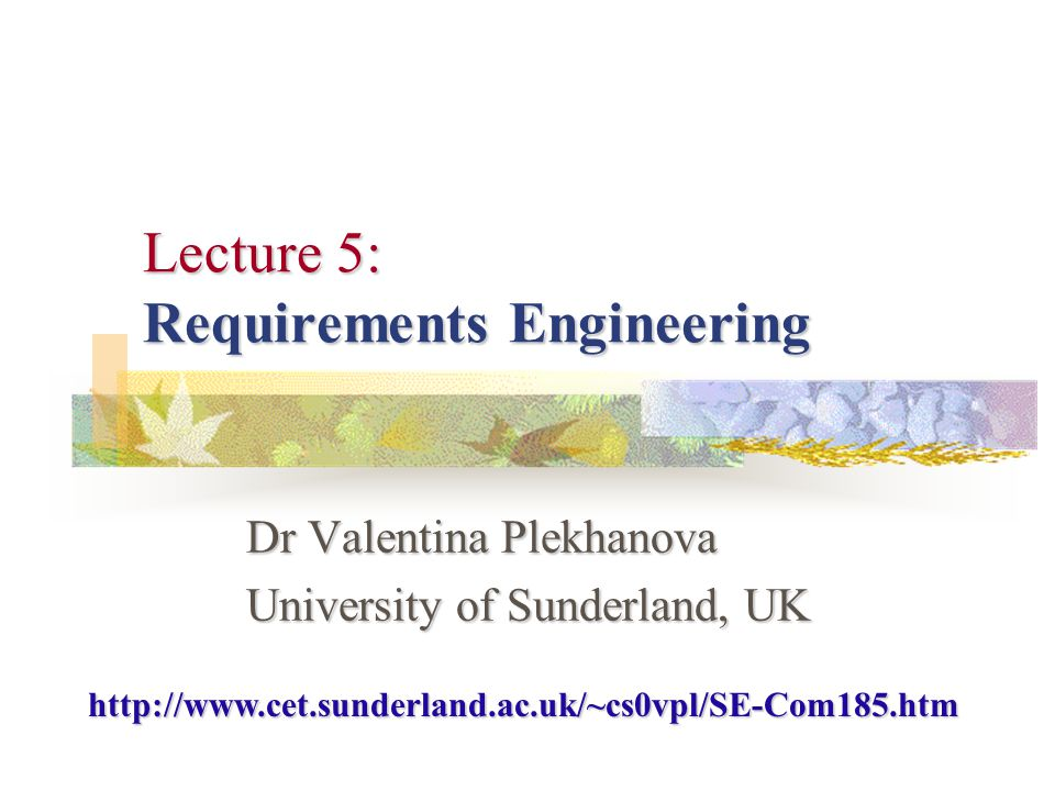 Lecture 5Valentina Plekhanova 2 What is a Requirement.