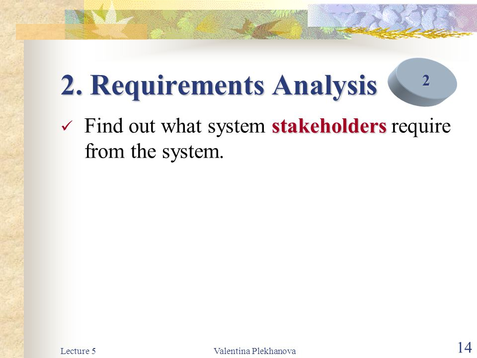 Lecture 5Valentina Plekhanova 15 3.Requirements Definition 4.