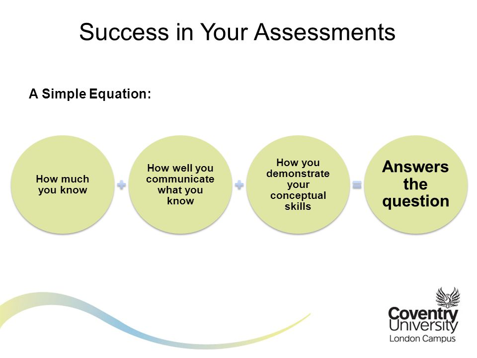 The skills being assessed include: Learning Critical thinking Numeracy Reasoning Writing Success in Your Assessments