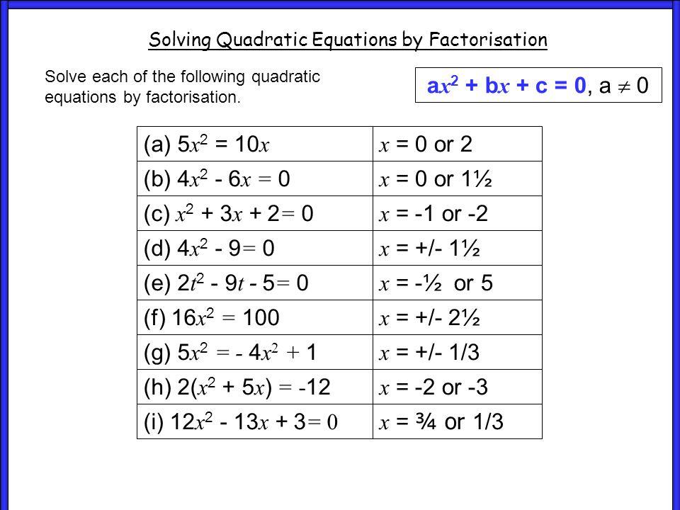 Worksheet (a) 5 x 2 = 10 x (b) 4 x 2 - 6 x = 0 (c) x 2 + 3 x + 2 = 0 (d) 4 x 2 - 9 = 0 (e) 2 t 2 - 9 t - 5 = 0 (f) 16 x 2 = 100 (g) 5 x 2 = - 4 x 2 + 1 (h) 2( x 2 + 5 x ) = -12 (i) 12 x 2 - 13 x + 3 = 0 (a) 5 x 2 = 10 x (b) 4 x 2 - 6 x = 0 (c) x 2 + 3 x + 2 = 0 (d) 4 x 2 - 9 = 0 (e) 2 t 2 - 9 t - 5 = 0 (f) 16 x 2 = 100 (g) 5 x 2 = - 4 x 2 + 1 (h) 2( x 2 + 5 x ) = -12 (i) 12 x 2 - 13 x + 3 = 0 (a) 5 x 2 = 10 x (b) 4 x 2 - 6 x = 0 (c) x 2 + 3 x + 2 = 0 (d) 4 x 2 - 9 = 0 (e) 2 t 2 - 9 t - 5 = 0 (f) 16 x 2 = 100 (g) 5 x 2 = - 4 x 2 + 1 (h) 2( x 2 + 5 x ) = -12 (i) 12 x 2 - 13 x + 3 = 0 Worksheet