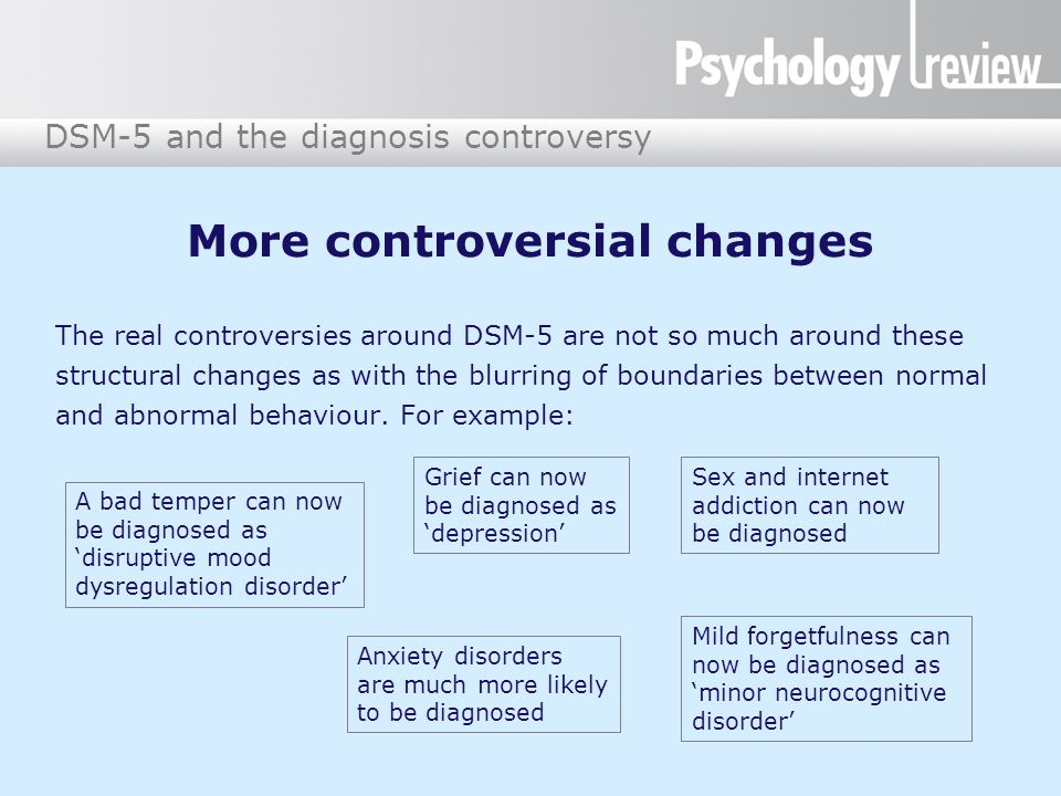 DSM-5 and the diagnosis controversy The impact of these changes Some mental health professionals fear that very normal behaviour, ranging from temper tantrums in toddlers to age- related forgetfulness, will now be 'medicalised'.