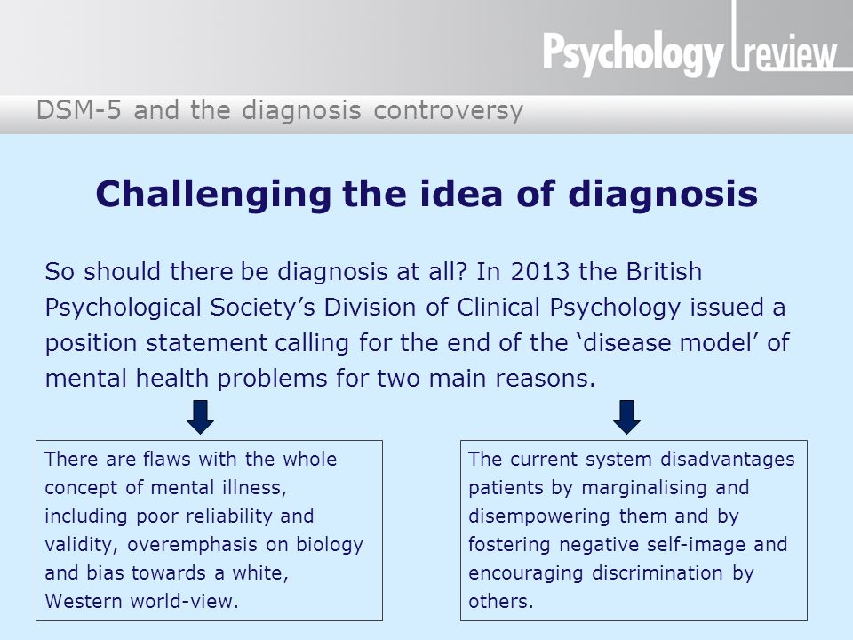 DSM-5 and the diagnosis controversy Conclusions Both the DSM-5 and diagnosis and classification in general are highly controversial.