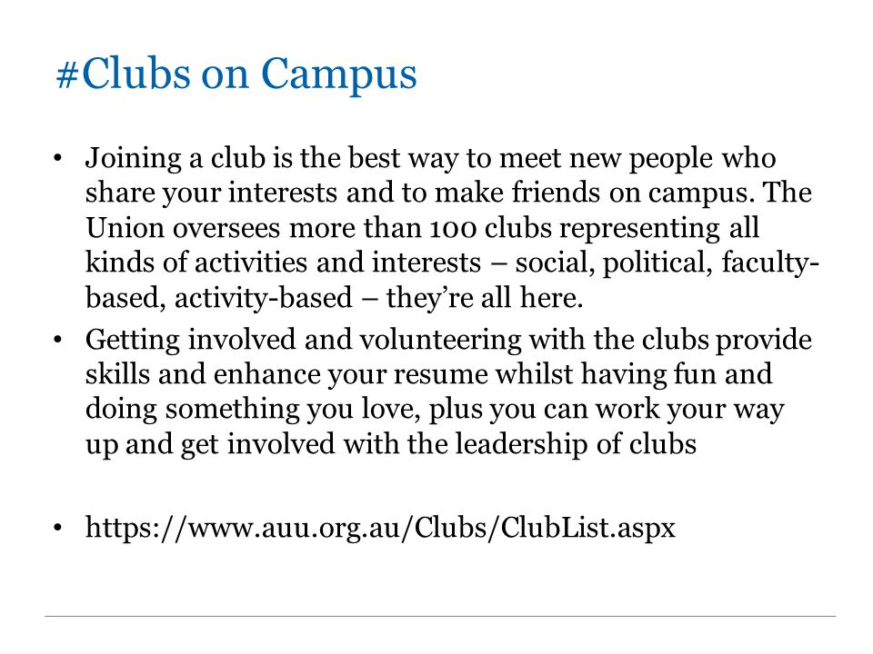 #Club List So many clubs – here are some I picked out that you might like: Humanities & Social Sciences Association Adelaide Entrepreneur Club Adelaide University Chess Club Adelaide University Animal Welfare Club Adelaide University Anime Club Adelaide University AYCC Action Group (climate change) Adelaide University Debating Society Adelaide University Labor Club or Liberal Adelaide University Swing Dancing Club Adelaide University Photography Club Adelaide University Oxfam Club Adelaide University Wine Club Amnesty International Evangelical Students GAMES Club German Car Appreciation Society Martial Arts Society Red Cross Club University of Adelaide Theatre Guild Inc Vgen – Youth Movement of World Vision