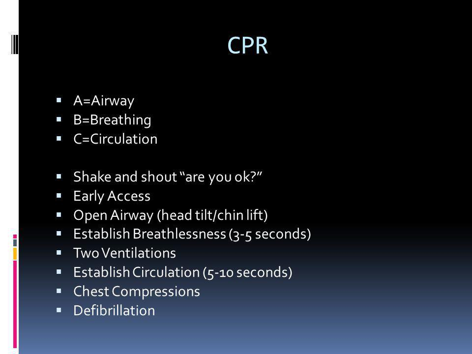 CPR Continued  > 8 is considered adult  Child is 1 to puberty  Infant is <1  Check pulse at the carotid for adult and child  Check pulse at the brachial for an infant  Adult: 2 fingers below the xyphoid process use 2 hands  Child: 2 fingers below xyphoid process use 1 hand  Infant: 1 finger under the nipple line and use 2 fingers