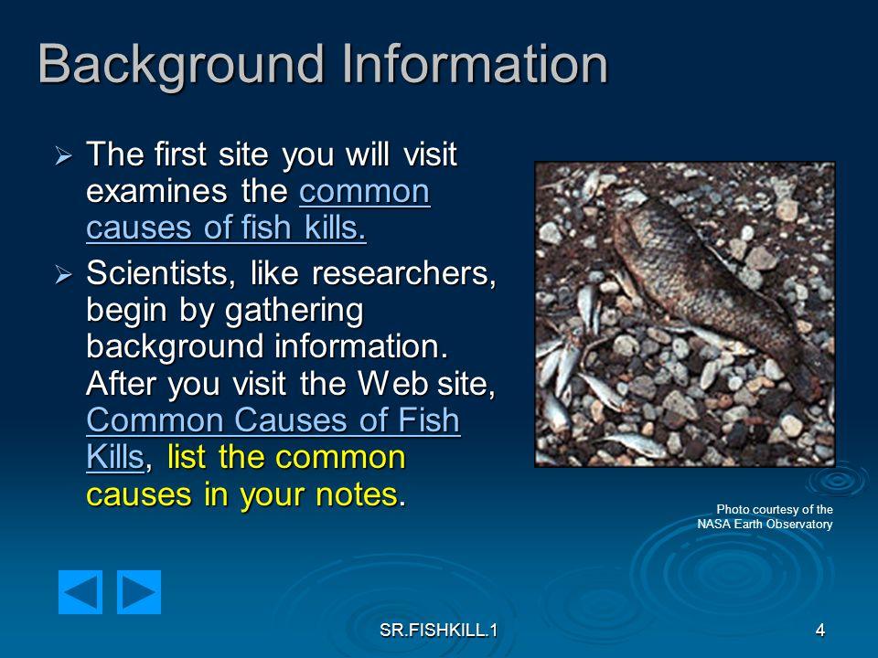 SR.FISHKILL.15 Background Information  The second site you will visit is from the Maryland Department of the Environment where you will examine data about the number and causes of fish kills in Maryland.