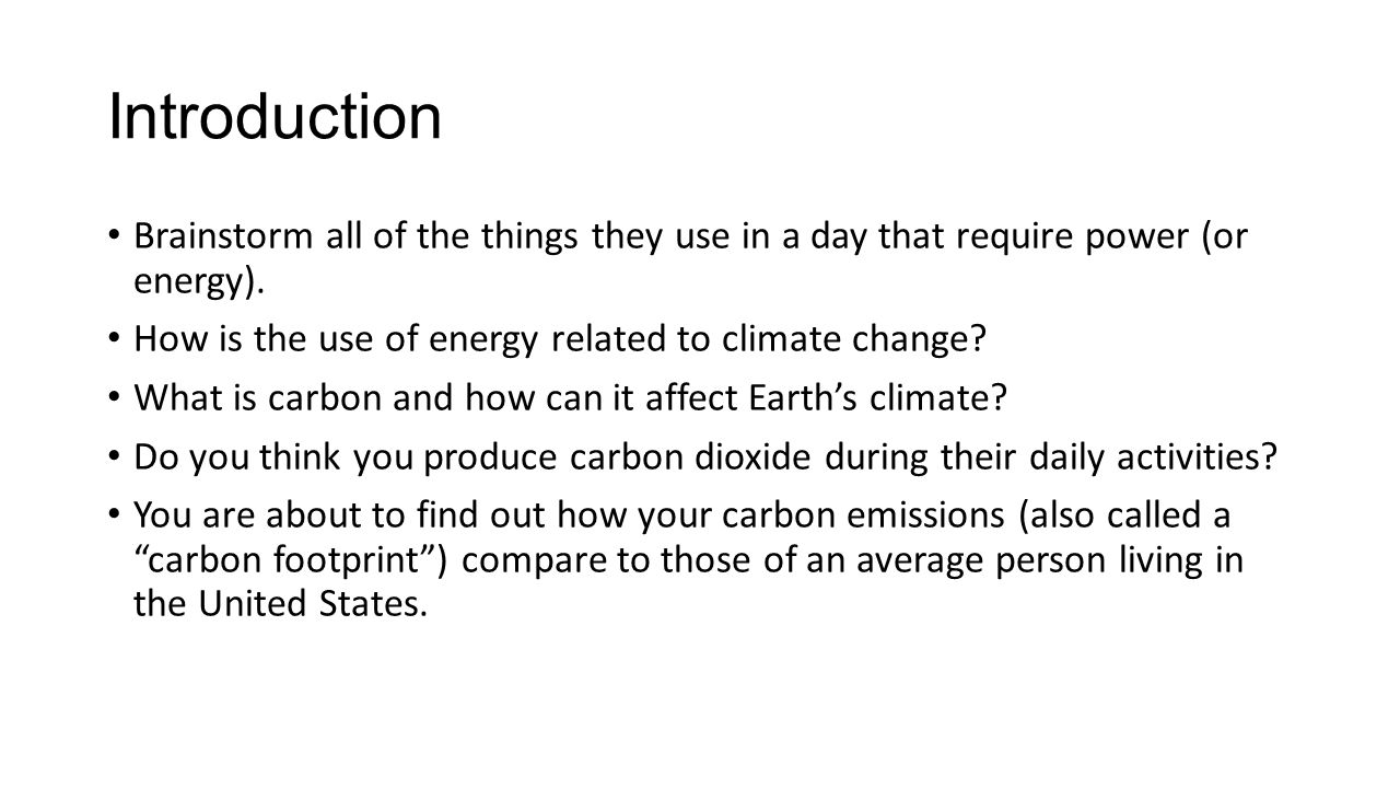 Procedure Handout: Carbon Footprint Results handout.