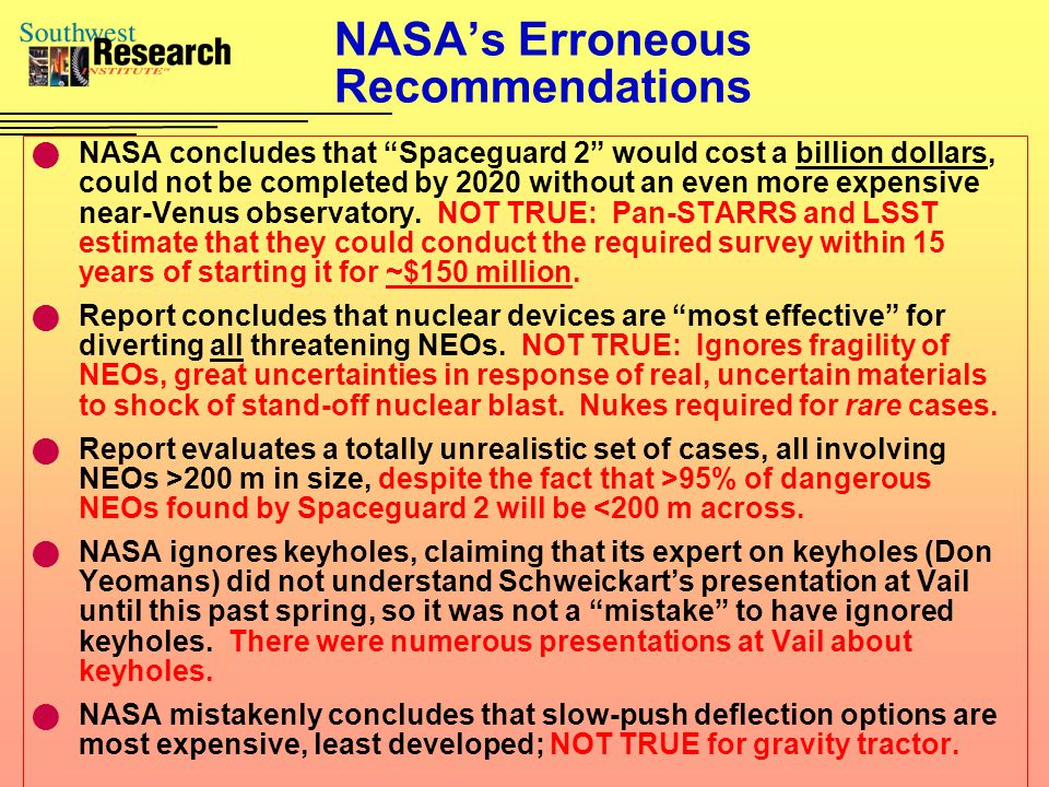 Current Issues Is NASA prepared to deal with NEOs.