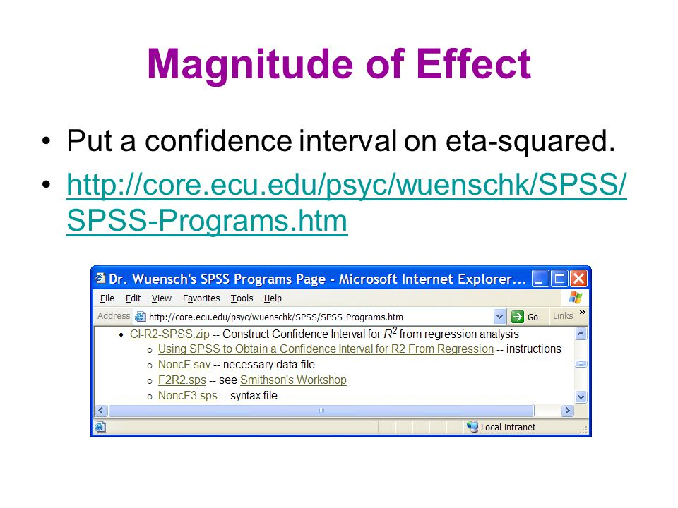 Magnitude of Effect Enter F and df into NoncF.sav